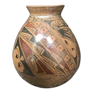 Vintage 20th Century Mata Ortiz Pottery Vessel Mexico 10 by 8.25 Inches For Sale