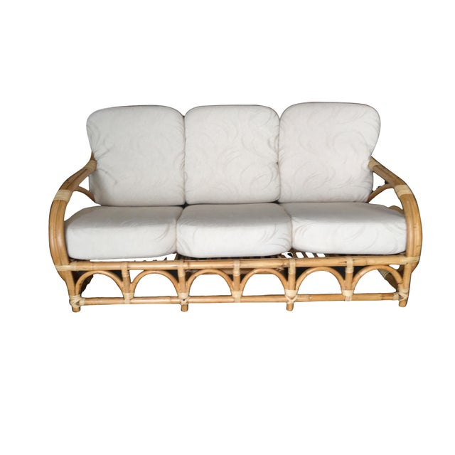 "Boho Chic Restored Two-Strand ""Circles and Speed"" Three Seat Rattan Sofa For Sale - Image 3 of 9"