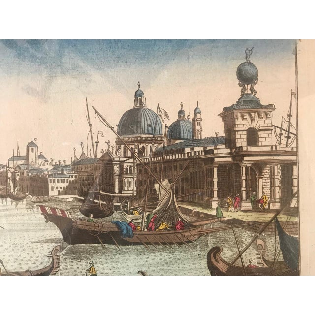 18th Century Vue D'Optique Hand-Colored Engraving of the Grand Canal, Venice For Sale - Image 4 of 10