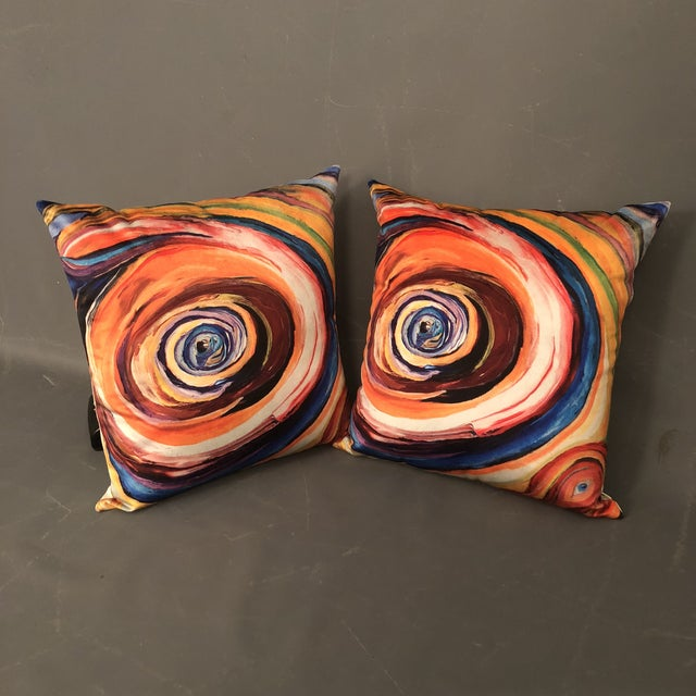 """Bruce Mishell"" Modern Hand Made Abstract Art Print Pillows - a Pair For Sale In New York - Image 6 of 6"