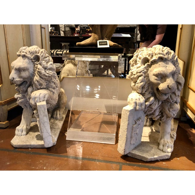 18th Century Marble Lion Statues - a Pair For Sale - Image 13 of 13