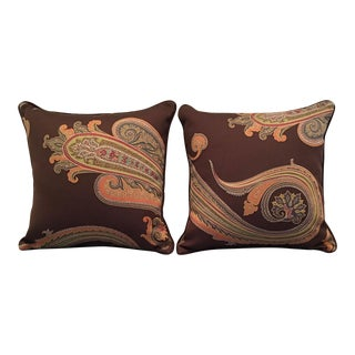 Hermes Paisley Pillows - a Pair For Sale