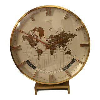 Large Mid-Century Modernist Table World Clock by Kienzle For Sale
