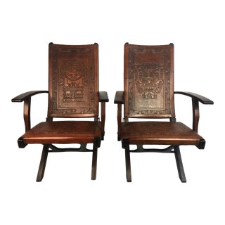 Mid Century Folding Leather Chairs - a Pair For Sale