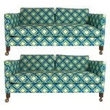 Image of Tuxedo or Parsons Settees / Sofas in Textured Lattice Bamboo Upholstery - a Pair For Sale