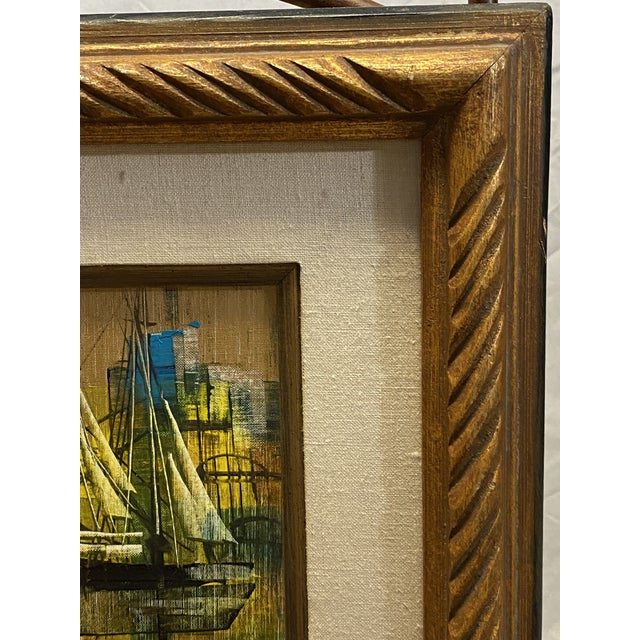 Vintage Oil on Canvas Signed Moss Nautical Sailboats Framed For Sale In New York - Image 6 of 10
