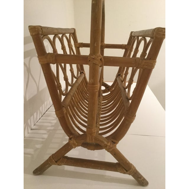 1970s Vintage Boho Chic Rattan Magazine Rack For Sale - Image 5 of 7