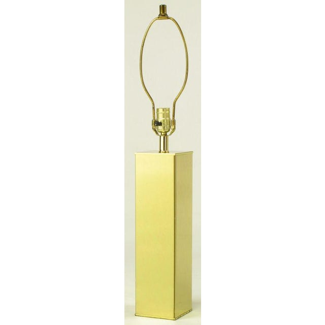 Pair Polished Brass Column Table Lamps - Image 5 of 6