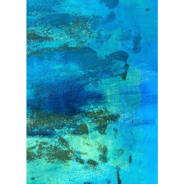 "Abstract 1980s Original Bay Area Artist ""Blue Green Pt. 1"" For Sale - Image 3 of 7"