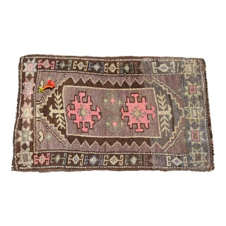 Distressed Low Pile Turkish Petite Rug .Hand Knotted Faded Mat Bathroom Rug- 24'' X 40'' For Sale