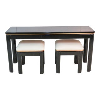Bernhardt Modern Design Ebonized Console & 2 Footstools For Sale