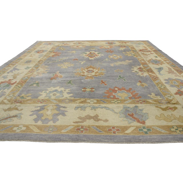 Boho Chic Contemporary Turkish Oushak Rug in Pastel Colors Boho Chic Style, 9'5 x 12'5 For Sale - Image 3 of 8