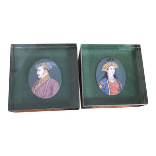 Modernist Cartier Sterling & Lucite Display Boxes With Portraits - a Pair For Sale