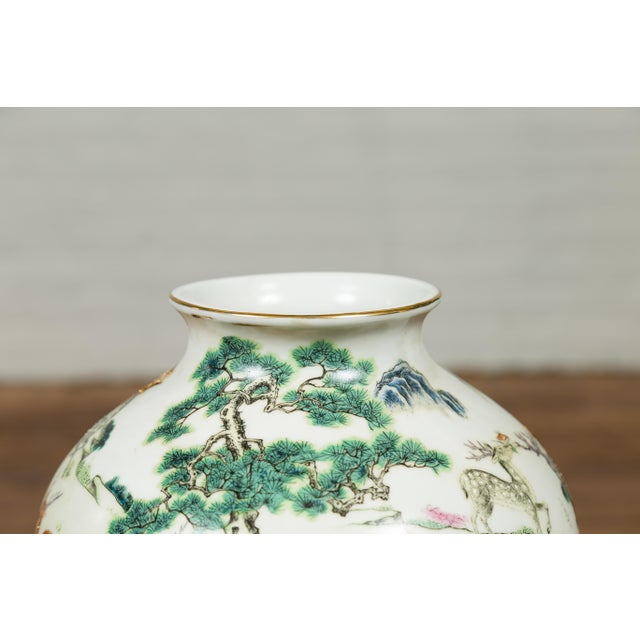 Chinese 1920s Chinese Porcelain Vase with Gilt Accents, Deer and Mountain Motifs For Sale - Image 3 of 13