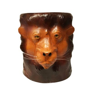 Embossed Lion Leather Table For Sale