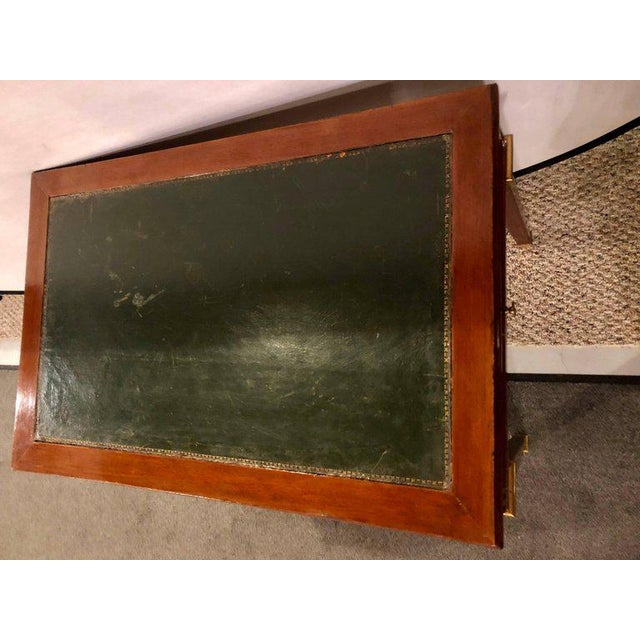 Dimenutive Leather Top Desk With Pull Out Sides And Bronze Mounts Stamped Jansen For Sale - Image 9 of 11