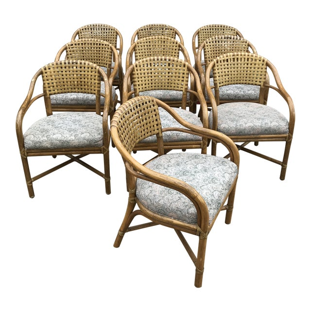 1970s Vintage McGuire Rattan and Leather Dining Chairs- Set of 10 For Sale