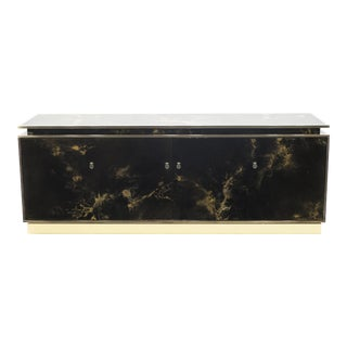 Rare Golden Lacquer and Brass Maison Jansen Sideboard 1970s For Sale