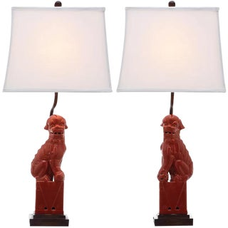 Red Foo Dog Lamps - A Pair