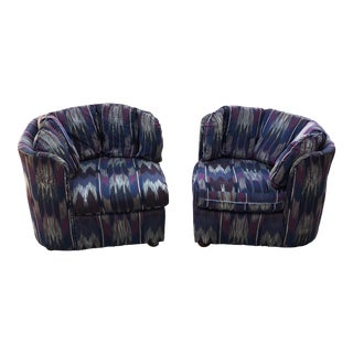 1980s Triangular Tufted Lounge Chairs - a Pair For Sale