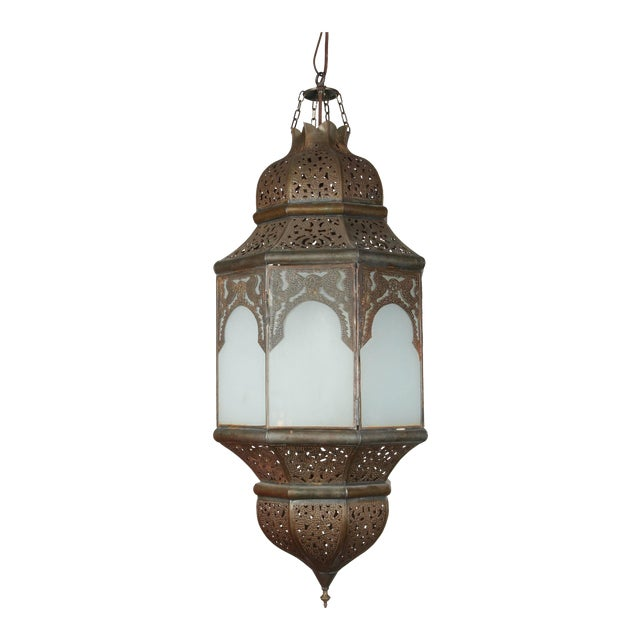 Moroccan Moorish Hanging Lantern With Milky Glass For Sale