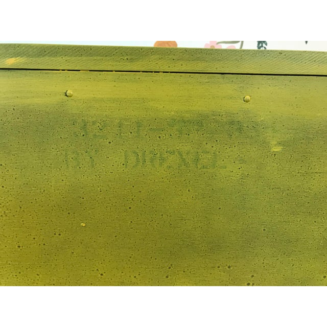 Yellow Louis XV Style Drexel Model 3211 Serpentine Front Yellow Paint Cabriole Leg Silverware Chest For Sale - Image 8 of 13