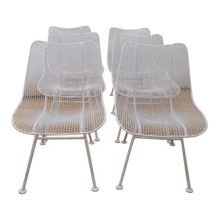 Russell Woodard Sculptura White Mesh Dining Side Chairs - Set of 6 For Sale