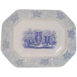 Mid 19th Century Blue and White Neoclassical Staffordshire Platter For Sale