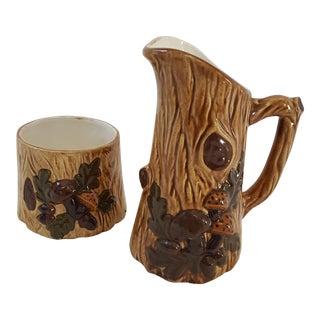 1970s Faux Bois Ceramic Pitcher & Catchall - A Pair