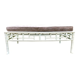 White Lacquered Faux Bamboo Style Bench For Sale