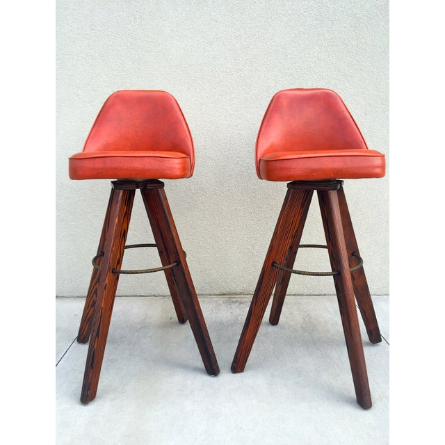 Mid-Century Modern Barstools in Orange - A Pair - Image 4 of 11