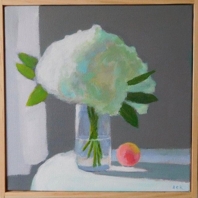 """""""White Hydrangea With a Peach"""" Painting by Anne Carrozza Remick For Sale In Providence - Image 6 of 6"""