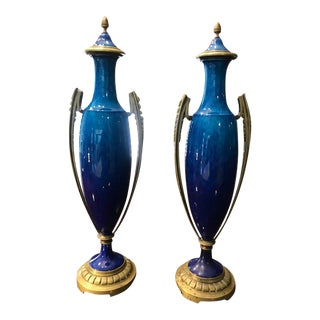 Sevres, by Paul Milet, Art Deco Urns, a Pair, Vintage Hollywood Regency Style For Sale