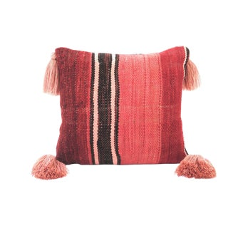 Moroccan Red and Pink Wool Throw Pillow