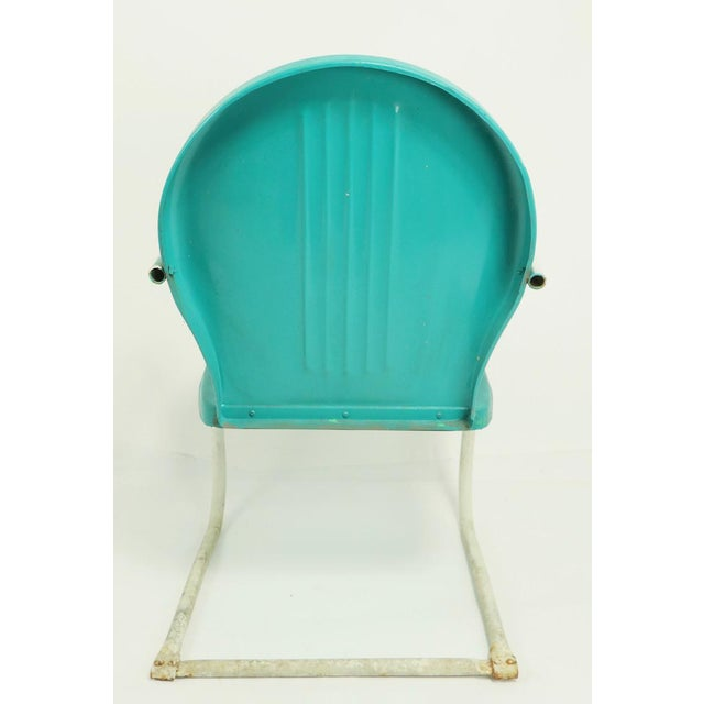 Blue Mid Century Metal Lawn Garden Patio Chairs by Shott - a Pair For Sale - Image 8 of 13
