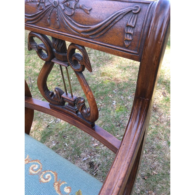 Regency Floral Needlepoint Harp Arm Chair - Image 6 of 7