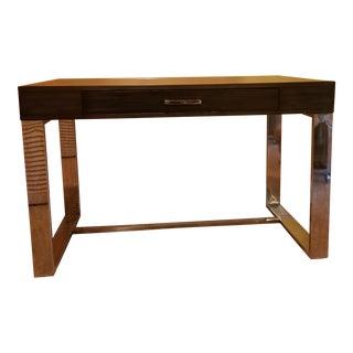 Final Sale Modern Milo Baughman Style Chrome Leg and Banded Top Computer Desk