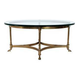 Petite LaBarge Brass & Glass Coffee Table For Sale