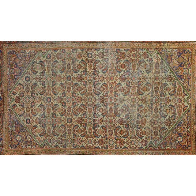 Distressed Antique Persian Mahal Rug with Modern Industrial Style For Sale - Image 4 of 5