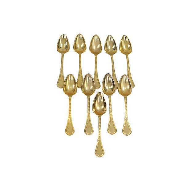 French Gold-Plates Espresso Spoons - Set of 10 For Sale - Image 4 of 4