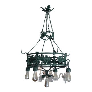Spanish 1930s Round Iron Chandelier. With Four Outer Lights and One Centre Down Light For Sale