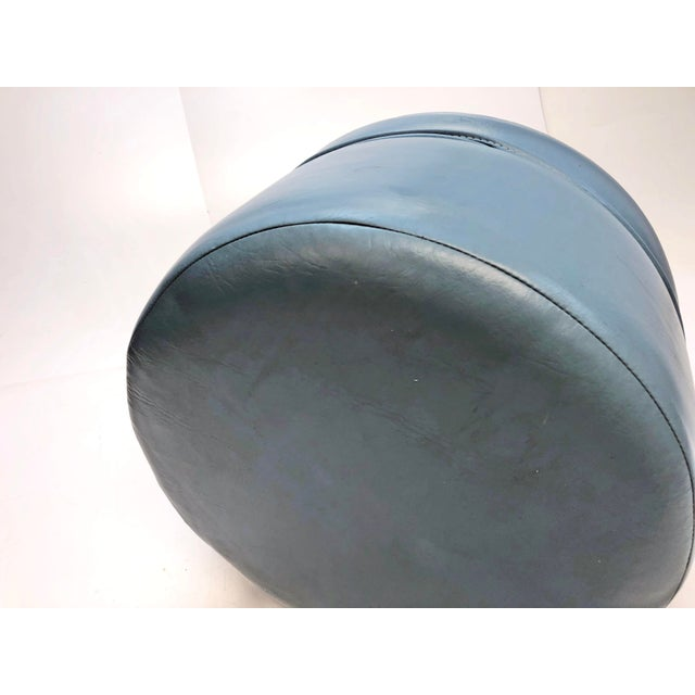 Vintage Mid Century Blue Vinyl Round Foot Stool Ottoman For Sale - Image 4 of 12