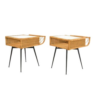 French Mid-Century Wicker Side Tables - a Pair For Sale