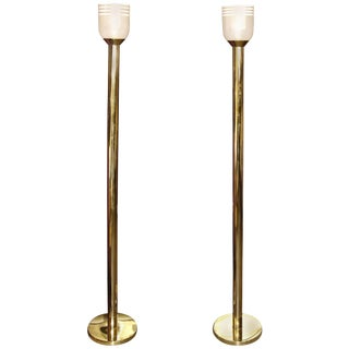 Koch & Lowy Brass Touch Glow Lamps With Mazzega Glass Shades - a Pair For Sale