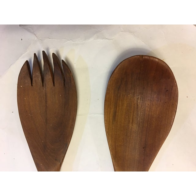 1990s Teak Wood Hippo Salad Fork & Spoon Servers - a Pair For Sale - Image 5 of 6