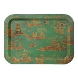 Image of 1970s Vintage Chinoiserie Green Tray For Sale