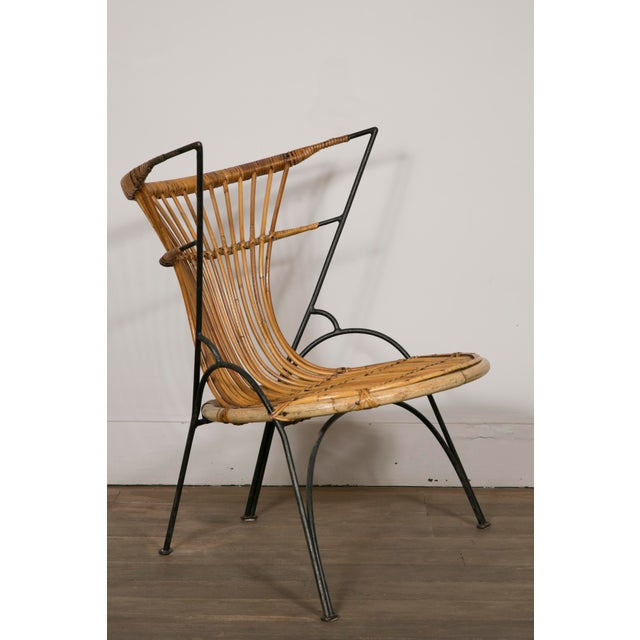 1950s Set of 3 Metal and Wicker Slipper Chairs For Sale - Image 5 of 11