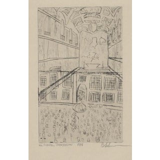 Chapel Procession Etching 1988 For Sale