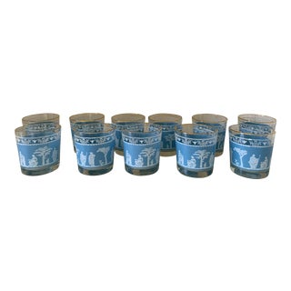 Grecian Pattern Old Fashioned Glasses For Sale