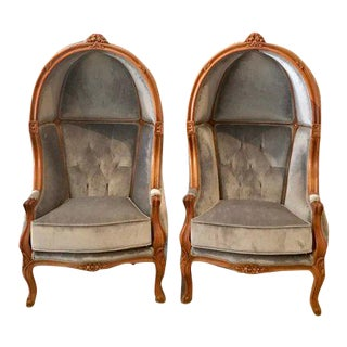 Tufted Throne Children Size Balloon Chairs - a Pair